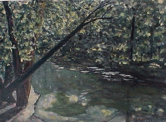 impressionism creek painting