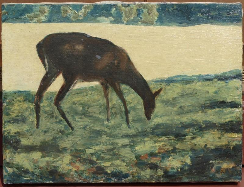 deer grazing painting