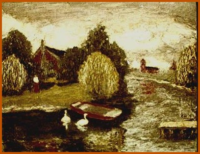 landscape with ducks painting