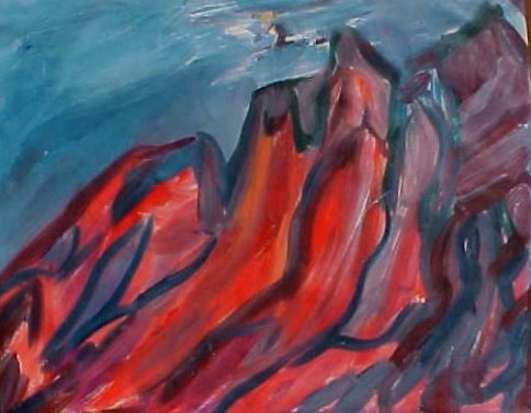 abstract mountain painting