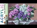 """""""Lilac flowers. Bouquet"""" How to paint still life??ACRYLIC tutorial DEMO"""