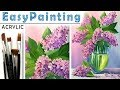 """""""Lilac bouquet"""" How to paint flower??ACRYLIC tutorial for beginners"""