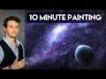 Painting a Galaxy and Stars with Acrylics in 10 Minutes!