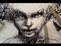 Pen and Ink Drawing Tutorials | Scribble portrait drawing demo
