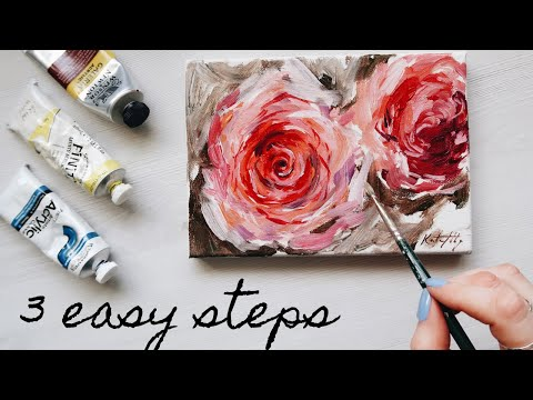 How to Paint a Rose Acrylics ??3 Easy Steps