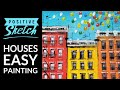 Acrylic painting tutorial, Easy acrylic painting, Cityscape, Houses, Painting for beginners
