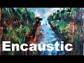 painting a landscape in encaustic and oil sticks