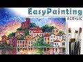 """""""Old town"""" Landscape - how to paint ??ACRYLIC tutorial for beginners"""