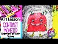 Element of Art: Value, Cartoon Monster Art Lesson Step-By-Step Drawing #distancelearning #monsterart