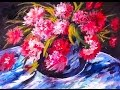 How to paint Renoir's  Red Peonies step by step  Free  60 min. acrylic painting tutorial