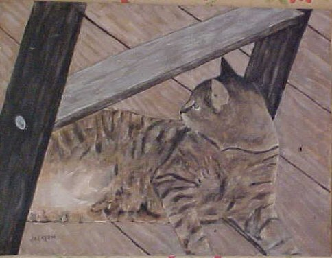 cat on deck painting