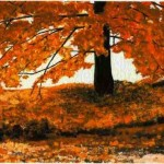modern impressionism landscapes_autumn tree in sunlight