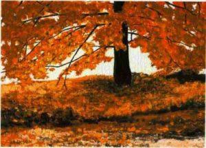 modern impressionism landscapes_autumn tree in sunlight