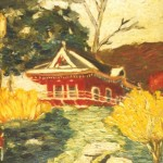 modern impressionism landscapes_red pagoda on hillside