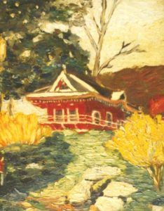 modern impressionism landscapes_red pagoda on hillside