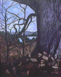 modern impressionism landscapes_ruins beside large tree