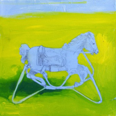 rocking_horse _in_yard_painting_by_Glenn_Merchant