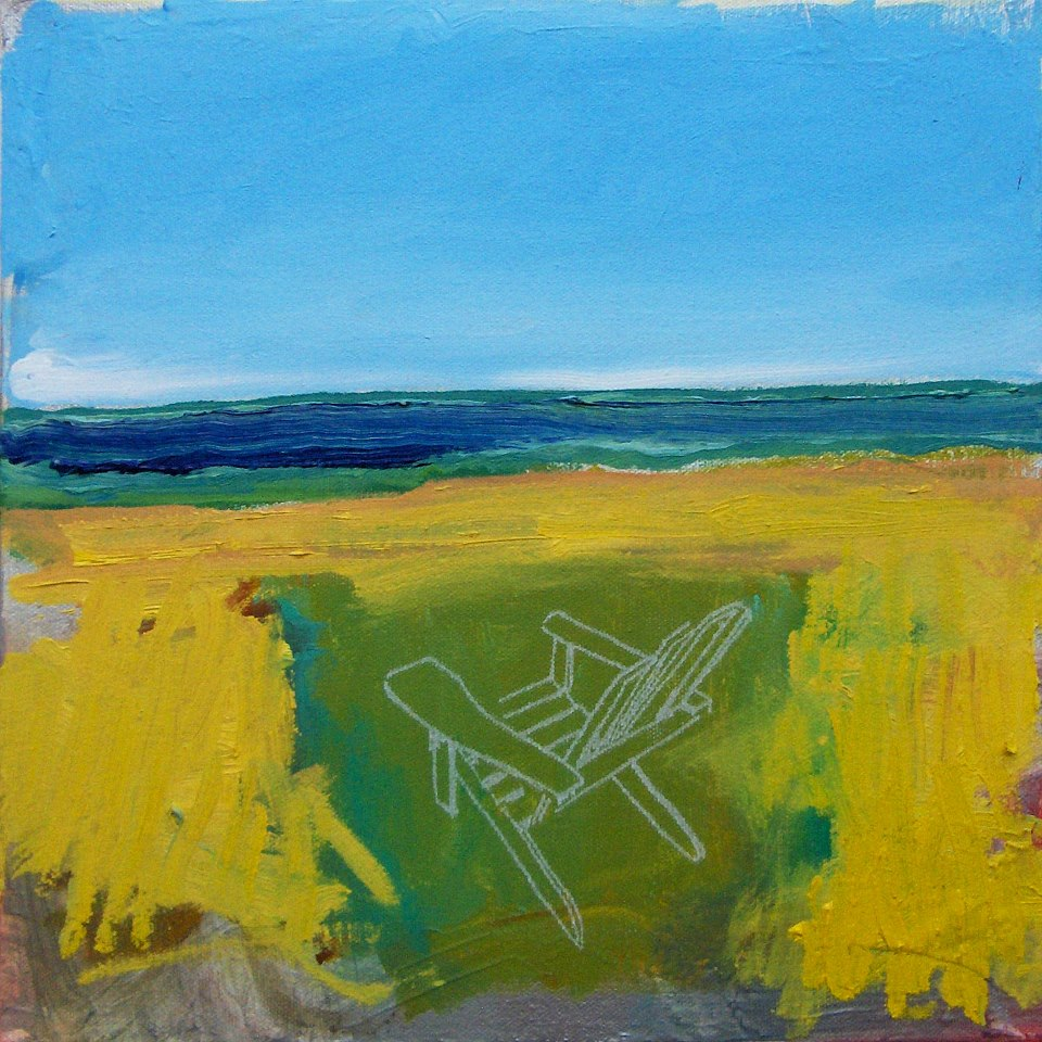 chair and wheatfield and sea painting by glenn merchant
