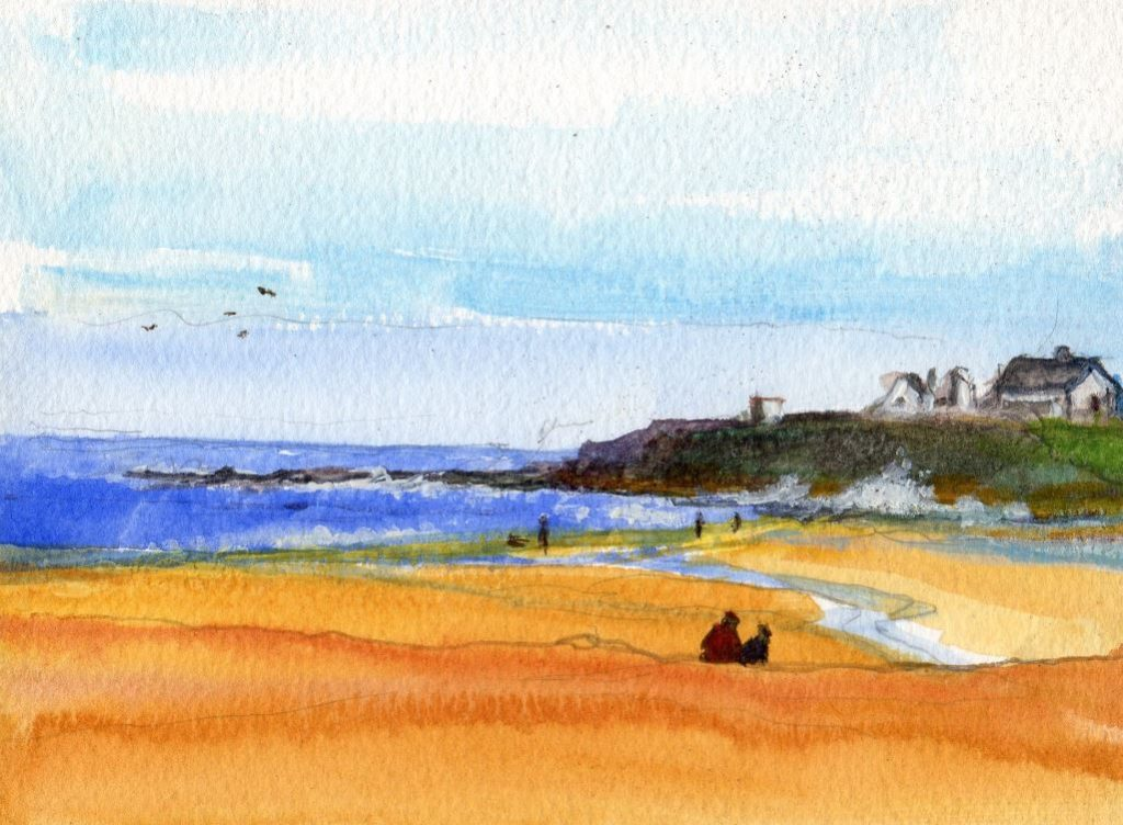 Rocky Island from Seaton by Norman Tween 1024x752 Rocky Island from Seaton Sluice beach, a Watercolor by Norman Tween