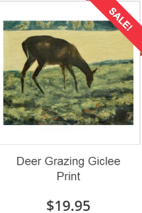 Deer Grazing Painting