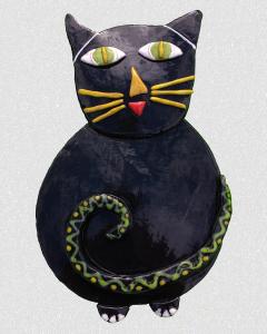 """Ceramic """"Sal"""" Black Cat 8x10"""