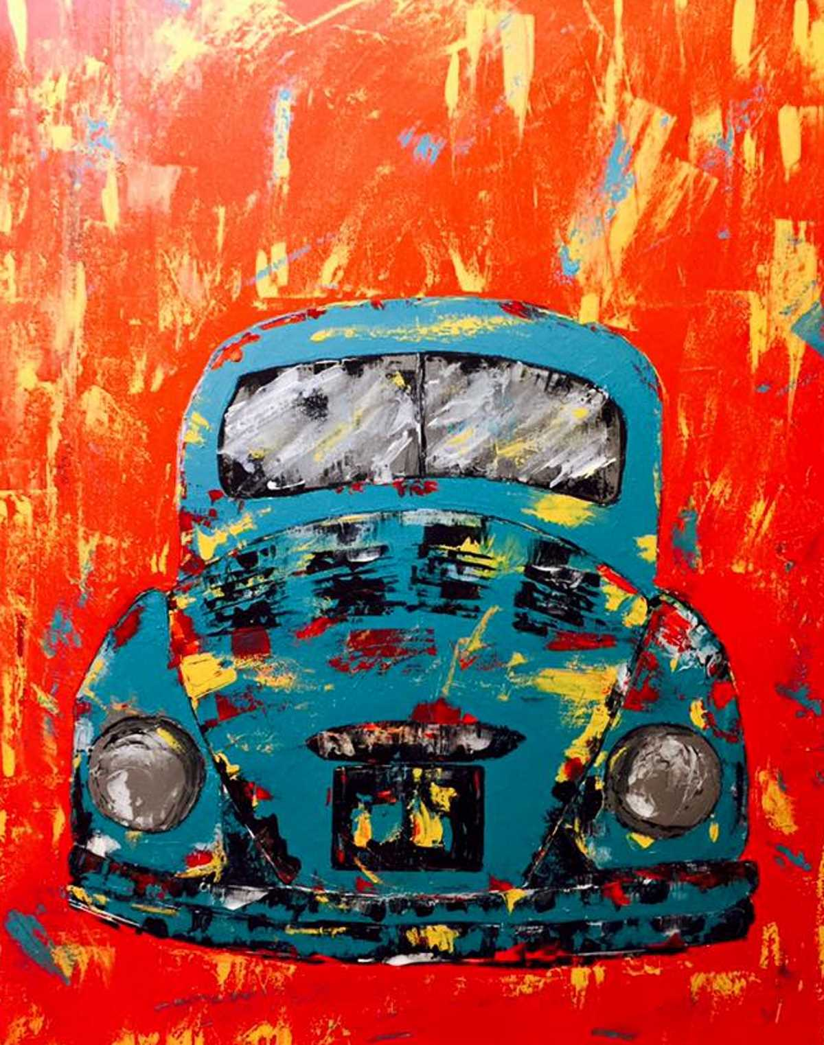 Abstract Volkswagen Painting by Beth Boudreaux