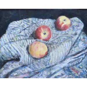 Apples-Paintings-Three-Apples-and-Cloth