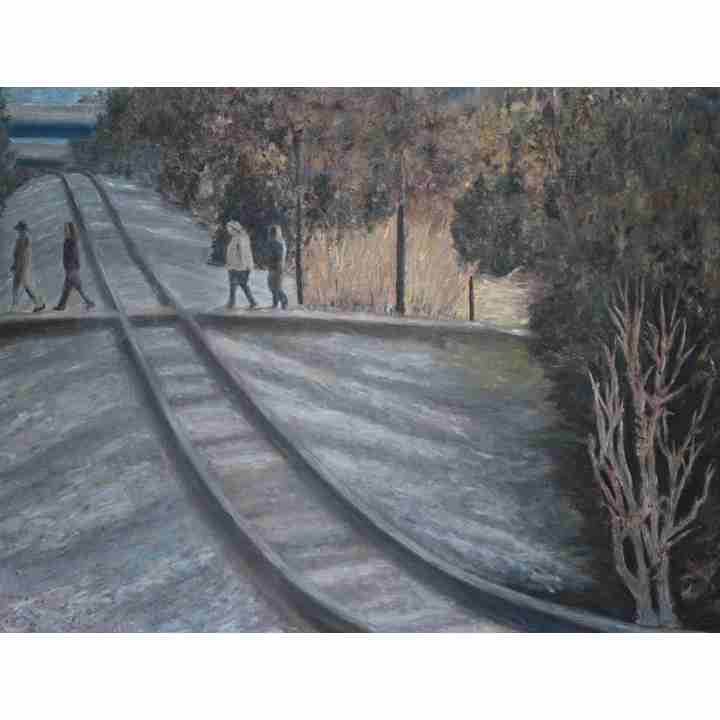 Gravel-on-Train-Tracks-Large-Landscape-Painting