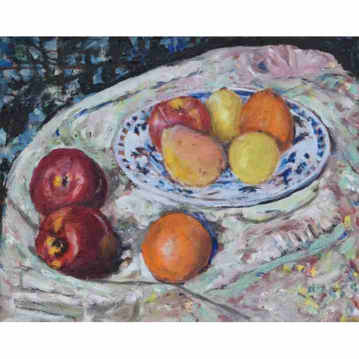 Still-Life-Fruit-on-Plate-with-Cloth-Painting